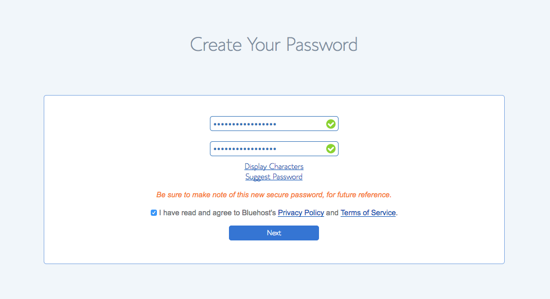 website password setup