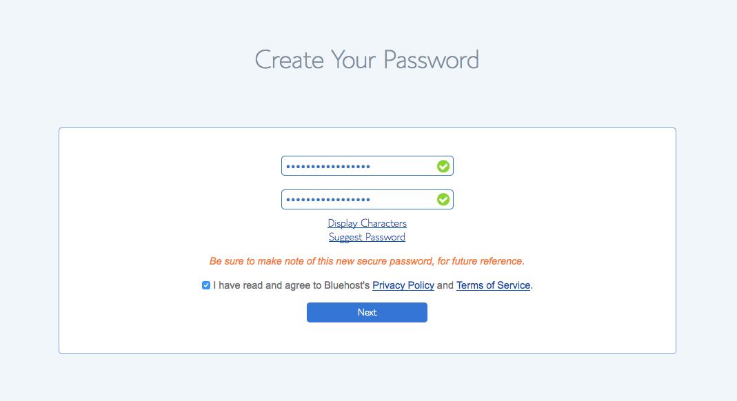 website password setup