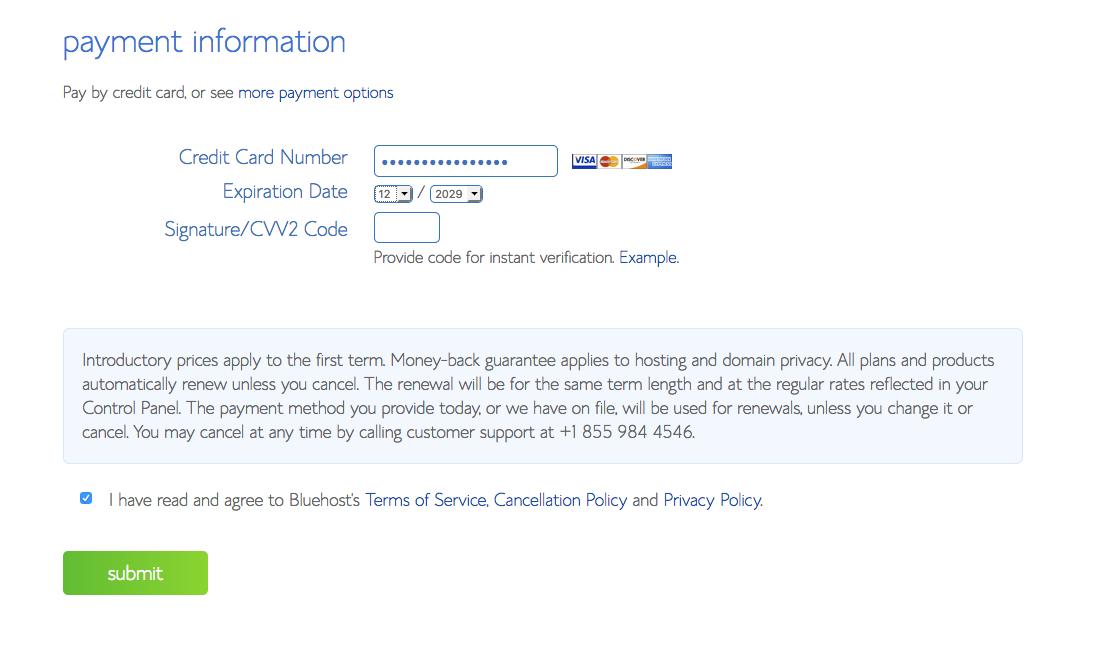 website cc account details